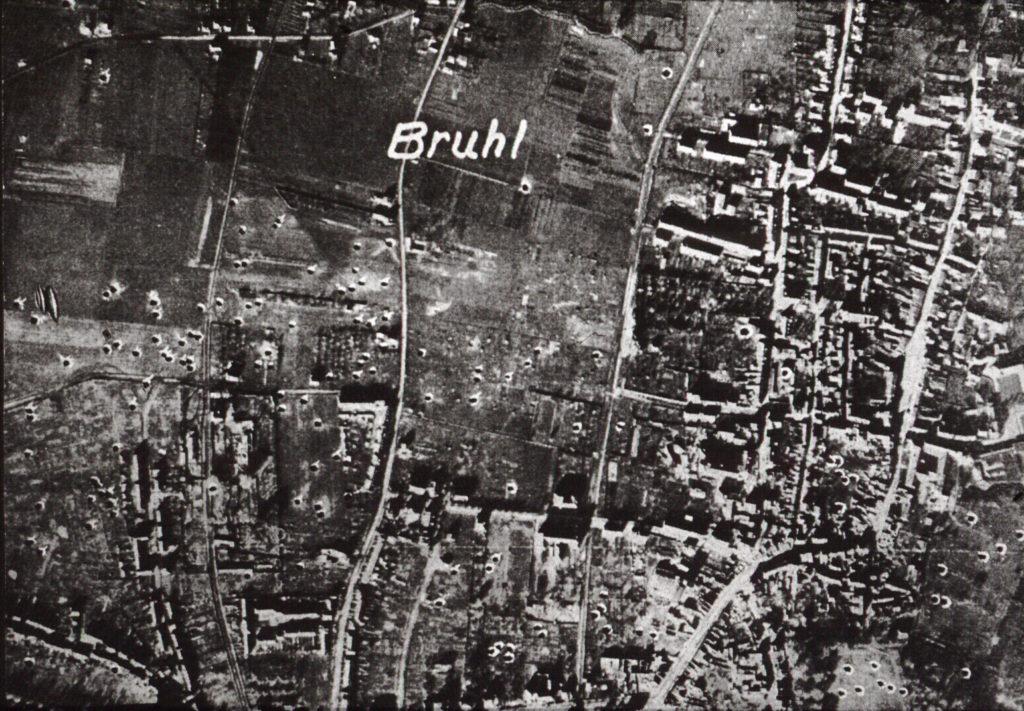 Bombentrefferkarte Brühl nach dem zweiten Weltkrieg