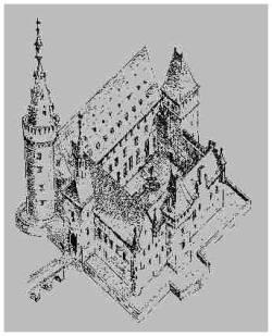 Skizze der Burg zu Brühl vor der Zerstörung durch die französischen Truppen