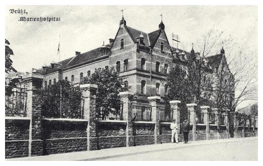 historischer Blick auf das Brühlöer Marienhospital an der Mühlenstraße