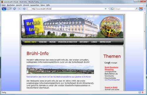 Grafik der früheren Version von www.bruehl-info.de